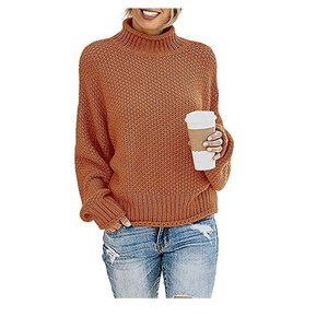 Women Turtleneck Chunky Batwing Sleeve Sweater Color Blocked Oversized Knitted
